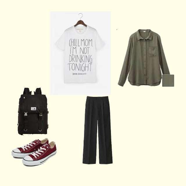 GUのシャツ/ブラウス、Tシャツ/カットソー等を使ったコーデ画像