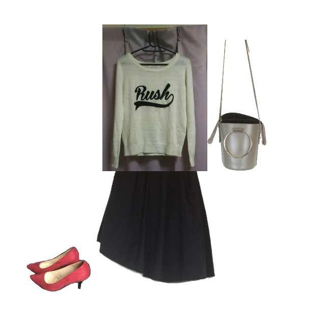 「ストリート、女子会」に関するLOWRYS FARMのニット/セーター、ミモレ丈スカート等を使ったコーデ画像