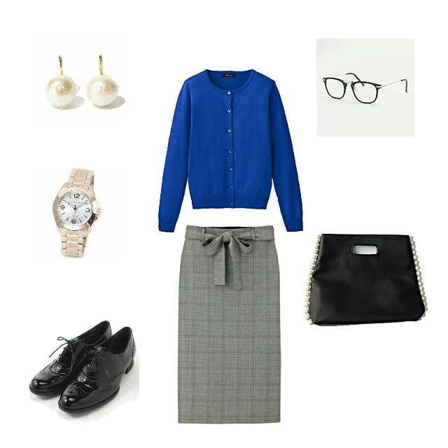 「シンプル、オフィス」に関するIMAGEのカーディガン、GUのタイトスカート等を使ったコーデ画像