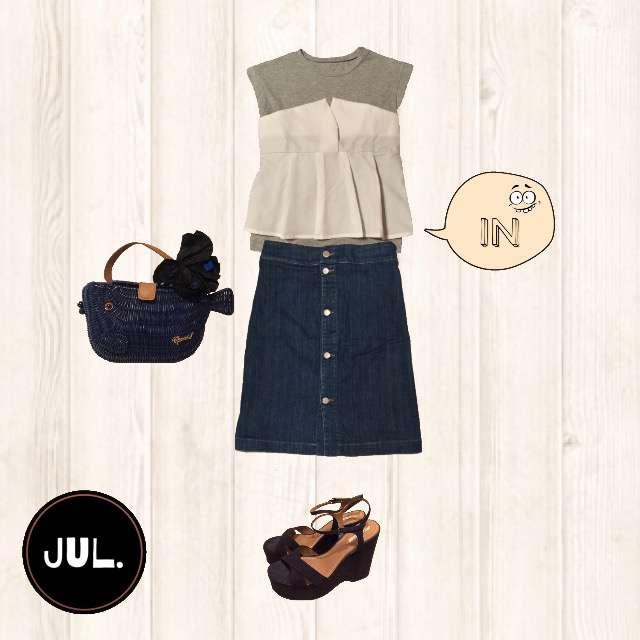 「カジュアル、夏」に関するTシャツ/カットソー、Chloeのデニムスカート等を使ったコーデ画像