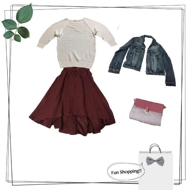 HONEYSのニット/セーター、INGNIのミモレ丈スカート等を使ったコーデ画像