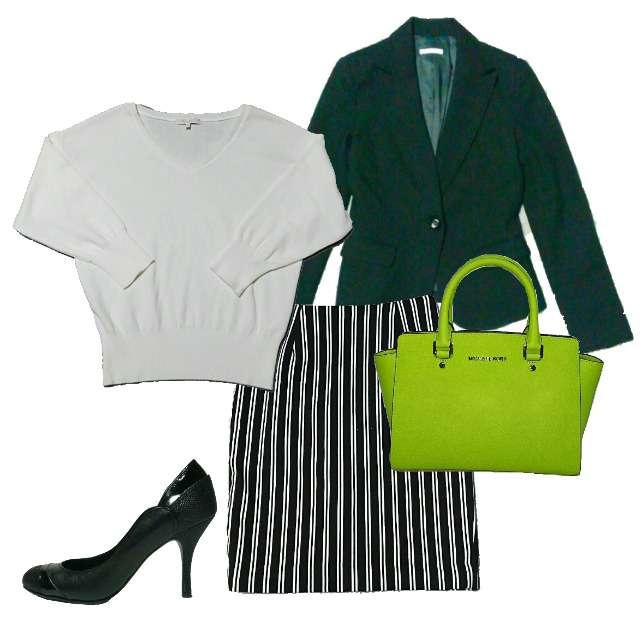 「コンサバ・エレガント、オフィス、OL、通勤」に関するPROPORTION BODY DRESSINGのニット/セーター、Spick and Span Nobleのタイトスカート等を使ったコーデ画像