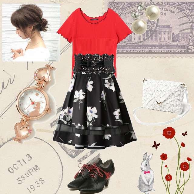 「コンサバ・エレガント、デート」に関するPAGEBOYのTシャツ/カットソー、GRLのひざ丈スカート等を使ったコーデ画像