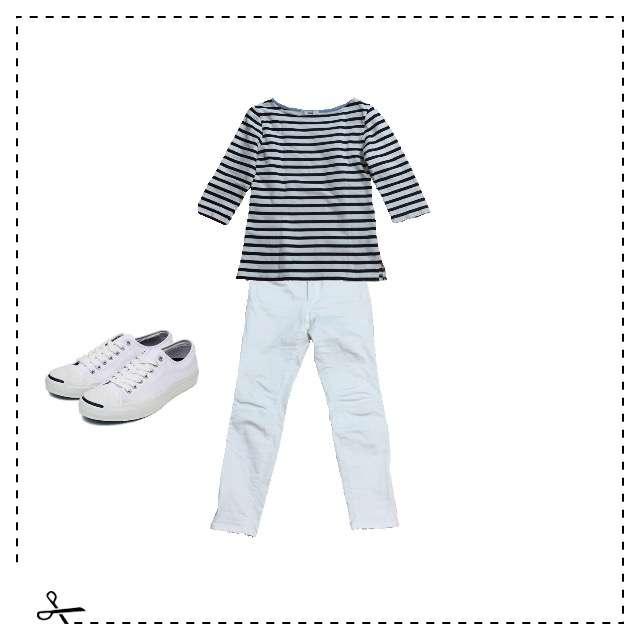 手作りのTシャツ/カットソー、bellemaisonのスキニーパンツ等を使ったコーデ画像