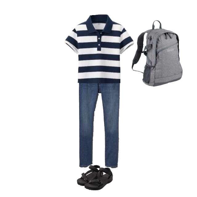UNIQLOのポロシャツ、GAPのデニムパンツ等を使ったコーデ画像