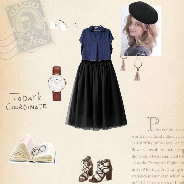 「ガーリー・フェミニン、休日、#黒のスカート、#ベレー帽、丸メガネ、#本」に関するLOWRYS FARMのシャツ/ブラウス、GRLのチュールスカート等を使ったコーデ画像