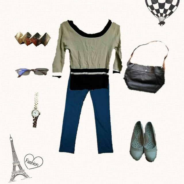 「カジュアル、休日」に関する22 OCTOBREのTシャツ/カットソー、COMME CA ISMのパンツ等を使ったコーデ画像