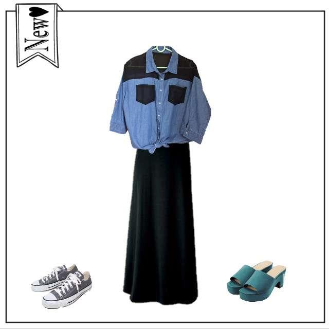 「ナチュラル・リラックス、学校」に関するシャツ/ブラウス、GUのマキシ丈スカート等を使ったコーデ画像