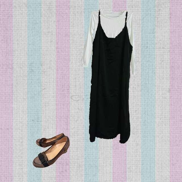「コンサバ・エレガント、休日」に関するHONEYSのTシャツ/カットソー、GUのワンピース等を使ったコーデ画像