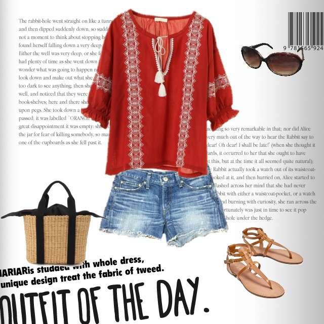 「ボーイッシュ・マニッシュ、晴れの日、#赤のトップス #短パン #サンダル」に関するearth music&ecologyのTシャツ/カットソー、moussyのショートパンツ等を使ったコーデ画像