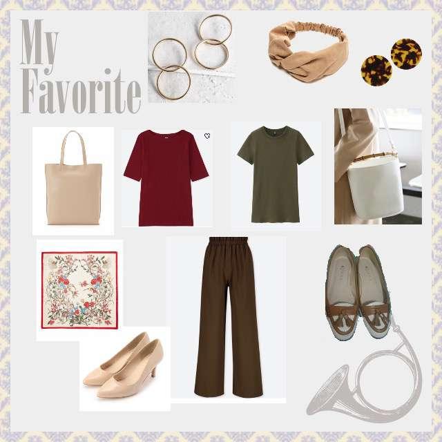 「シンプル、オフィス」に関するUNIQLOのTシャツ/カットソー、UNIQLOのワイドパンツ等を使ったコーデ画像