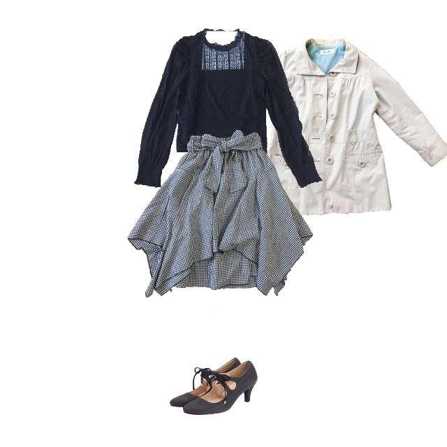 WEGOのシャツ/ブラウス、しまむらのひざ丈スカート等を使ったコーデ画像