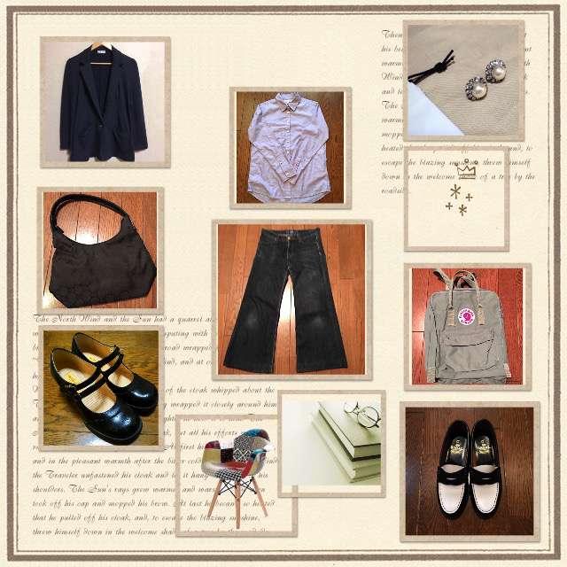 「シンプル、ネイビージャケット、ファストファッション、アラフィフ、バギーパンツ×ユニクロ(10年愛用)、ちょっとそこまで、大人カジュアル、ローファー、おでこ靴」に関するUNIQLOのシャツ/ブラウス、UNIQLOのデニムパンツ等を使ったコーデ画像