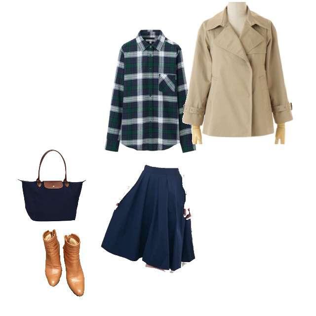 UNIQLOのシャツ/ブラウス、ROPE' PICNICのひざ丈スカート等を使ったコーデ画像