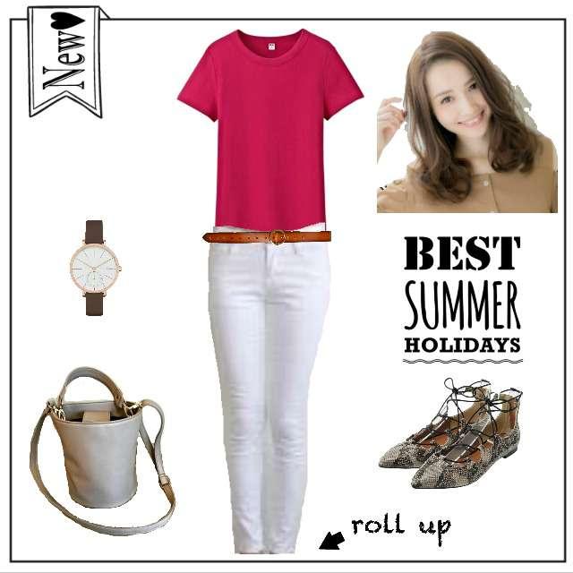 「シンプル、女子会」に関するUNIQLOのTシャツ/カットソー、ZARAのスキニーパンツ等を使ったコーデ画像