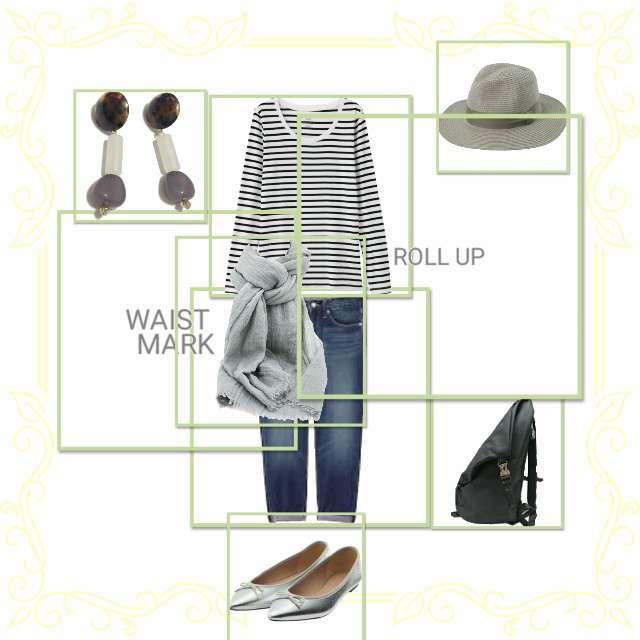 「夏、秋、春」に関するGUのTシャツ/カットソー、GUのデニムパンツ等を使ったコーデ画像