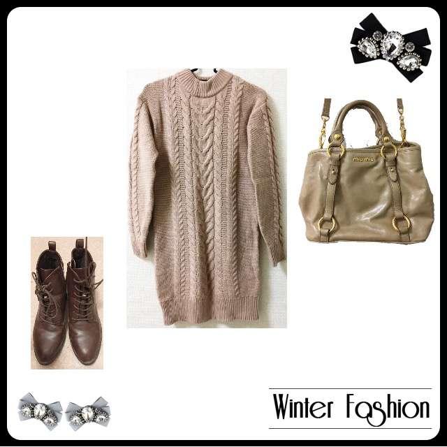 「シンプル、休日、冬」に関するUNIQLOのニットワンピ、Ray Cassinのブーツ等を使ったコーデ画像