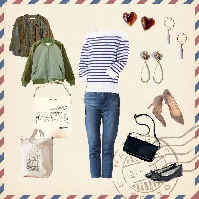 「シンプル、カフェ、ランチ、おでかけ、ショッピング、休日、カジュアル、春、秋」に関するSAINT JAMESのTシャツ/カットソー、Leeのデニムパンツ等を使ったコーデ画像