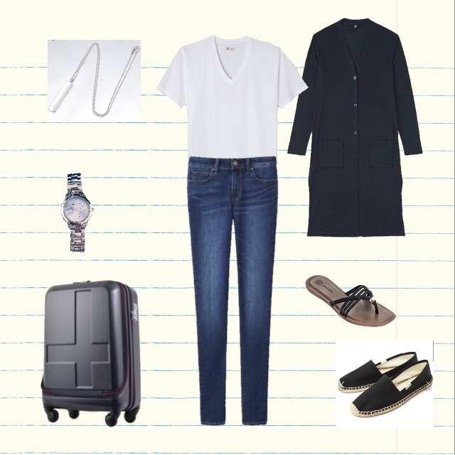 UNIQLOのカーディガン、HanesのTシャツ/カットソー等を使ったコーデ画像