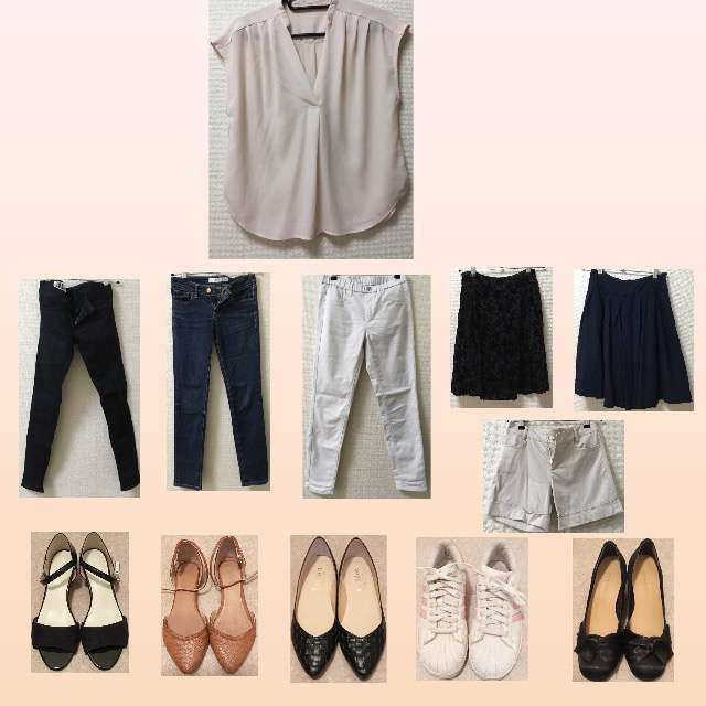 「シンプル、休日、オフィス」に関するViSのTシャツ/カットソー、UNIQLOのひざ丈スカート等を使ったコーデ画像