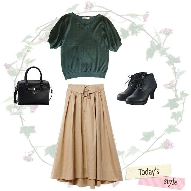 「ナチュラル・リラックス、休日」に関するAG by aquagirlのTシャツ/カットソー、w closetのマキシ丈スカート等を使ったコーデ画像