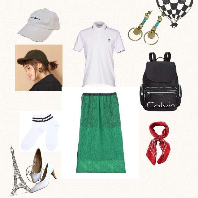 「スポーティ・スポーツMIX、お散歩」に関するPAUL&JOEのポロシャツ、elendeekのタイトスカート等を使ったコーデ画像