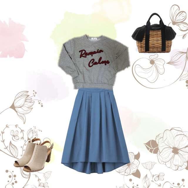 ニット/セーター、GUのフレアスカート等を使ったコーデ画像