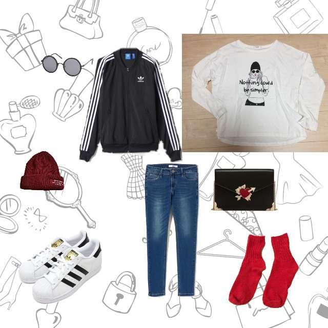 「スポーティ・スポーツMIX、お散歩」に関するHONEYSのTシャツ/カットソー、スキニーパンツ等を使ったコーデ画像