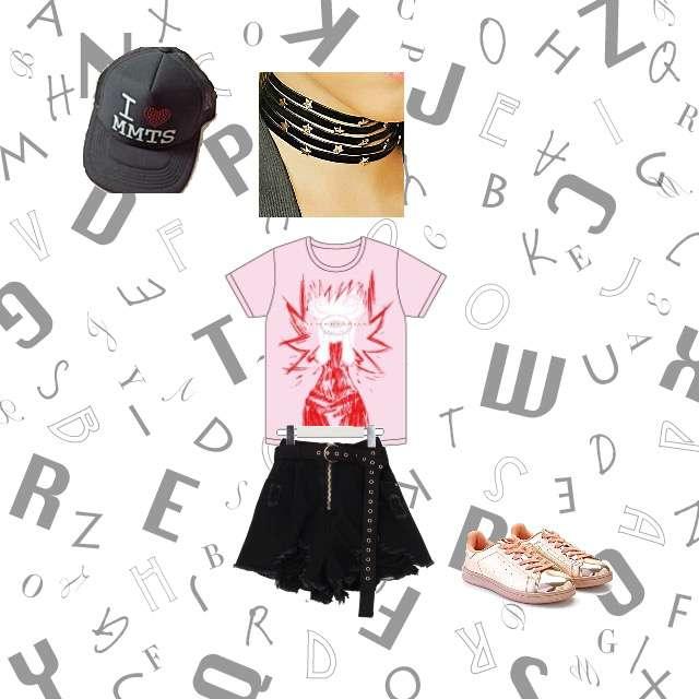 Tシャツ/カットソー、AnkRouge のミニスカート等を使ったコーデ画像