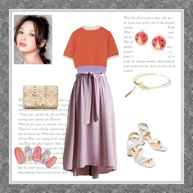 「ガーリー・フェミニン」に関するjouetieのニット/セーター、toccoのミモレ丈スカート等を使ったコーデ画像