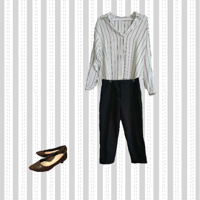「コンサバ・エレガント、オフィス」に関するINGNIのシャツ/ブラウス、GUのクロップドパンツ等を使ったコーデ画像