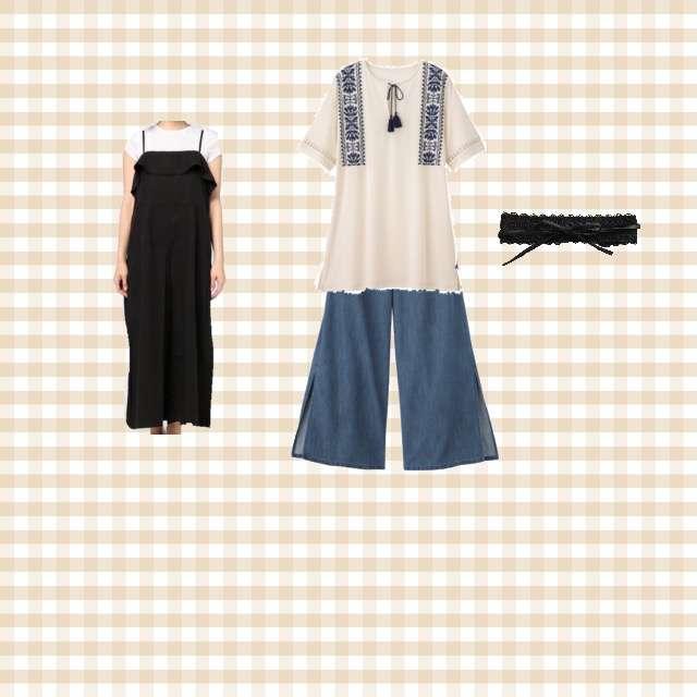 GUのTシャツ/カットソー、GUのデニムパンツ等を使ったコーデ画像