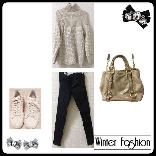 「シンプル、休日、冬」に関するSLYのスキニーパンツ、dazzlinのニットワンピ等を使ったコーデ画像