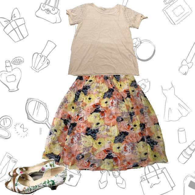 groveのTシャツ/カットソー、Durerのミモレ丈スカート等を使ったコーデ画像