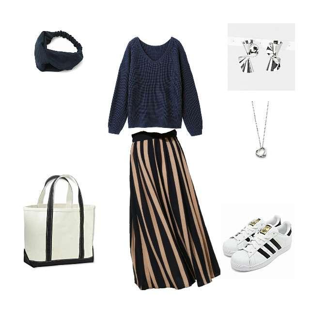 「シンプル、休日」に関するGUのニット/セーター、ROPE' PICNICのマキシ丈スカート等を使ったコーデ画像