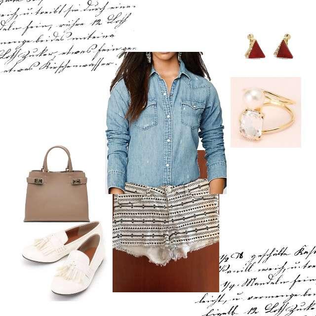 RALPH LAURENのシャツ/ブラウス、H&Mのショートパンツ等を使ったコーデ画像