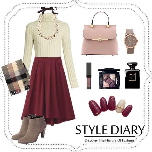 「ガーリー・フェミニン、女子会、休日、おでかけ、お散歩、カフェ、今日の着まわしアイテム、今日のコーデ」に関するニット/セーター、GUのフレアスカート等を使ったコーデ画像