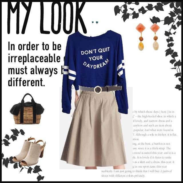 トップス、UNIQLOのミモレ丈スカート等を使ったコーデ画像