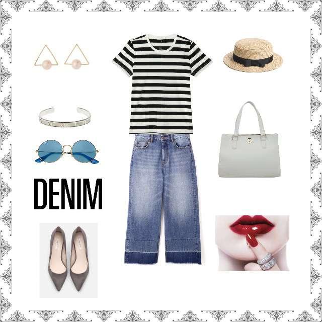 「カジュアル、おでかけ、着回し、デニム」に関するTシャツ/カットソー、N.Natural beauty basic*のデニムパンツ等を使ったコーデ画像