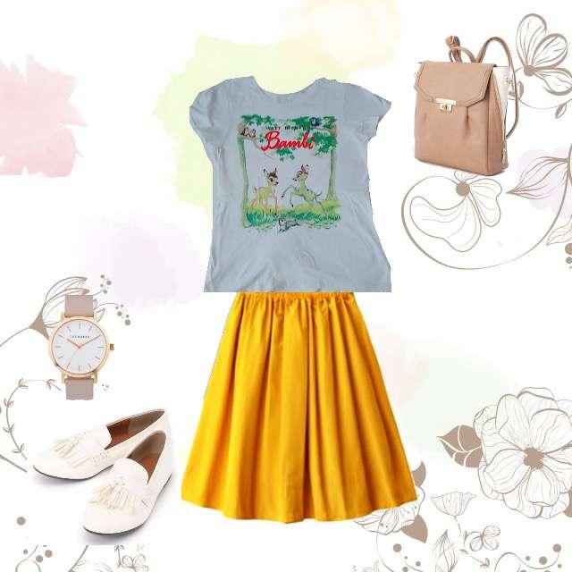 UNIQLOのTシャツ/カットソー、GRLのフレアスカート等を使ったコーデ画像