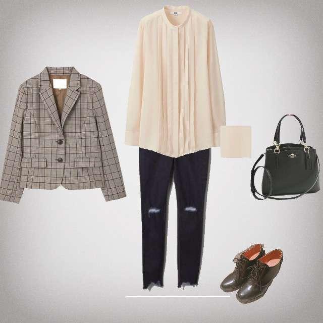 「シンプル、休日」に関するUNIQLOのシャツ/ブラウス、JEANASISのスキニーパンツ等を使ったコーデ画像