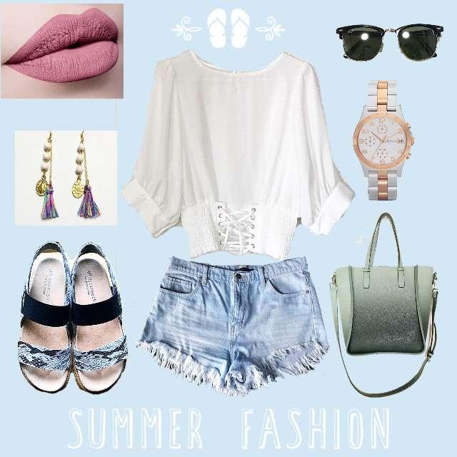 「ストリート、お散歩、夏」に関するしまむらのTシャツ/カットソー、FOREVER 21のショートパンツ等を使ったコーデ画像