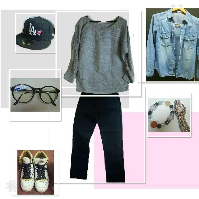 「シンプル、通勤、スニーカー」に関するGUのシャツ/ブラウス、rid.dle from…のTシャツ/カットソー等を使ったコーデ画像