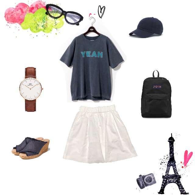 UNITED ARROWSのTシャツ/カットソー、JILLSTUARTのひざ丈スカート等を使ったコーデ画像