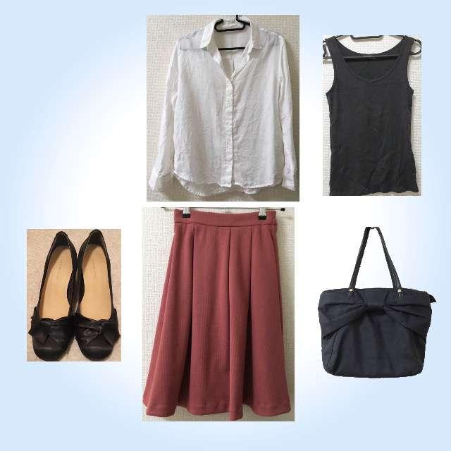 「シンプル、オフィス」に関するGUのシャツ/ブラウス、UNIQLOのキャミソール/タンクトップ等を使ったコーデ画像