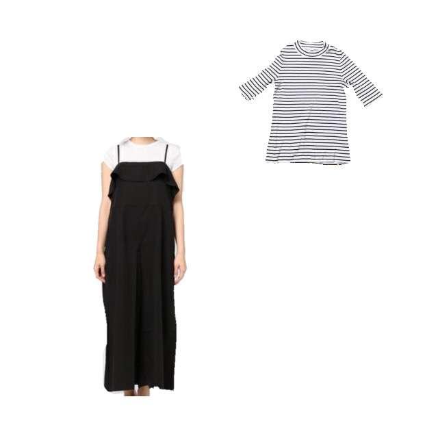 UNIQLOのTシャツ/カットソー、LOWRYS FARMのオールインワン等を使ったコーデ画像