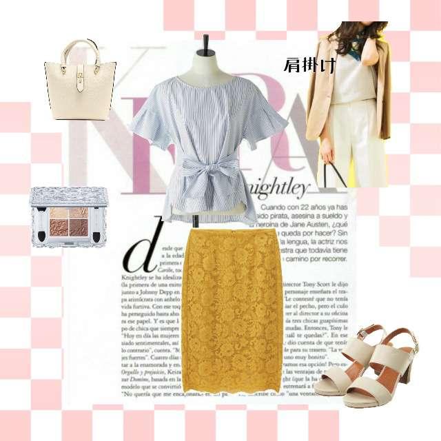 「コンサバ・エレガント、オフィス」に関するAZUL ENCANTOのシャツ/ブラウス、GUのタイトスカート等を使ったコーデ画像