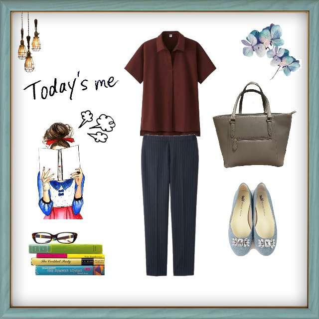 「シンプル、オフィス」に関するUNIQLOのポロシャツ、UNIQLOのタックパンツ等を使ったコーデ画像