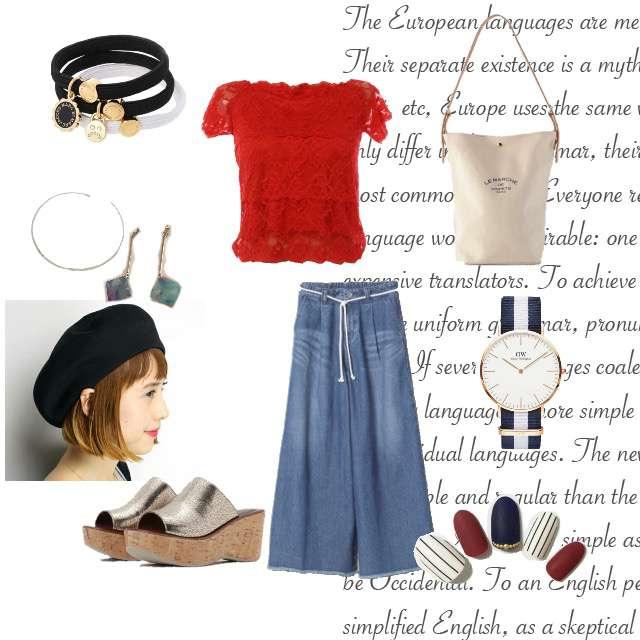「白トート、ワイドパンツ、デニム、オフショル、ベレー帽」に関するmysty womanのTシャツ/カットソー、JEANASISのデニムパンツ等を使ったコーデ画像