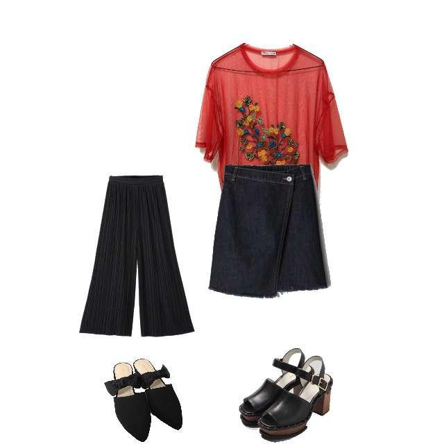 ZARAのTシャツ/カットソー、GUのワイドパンツ等を使ったコーデ画像
